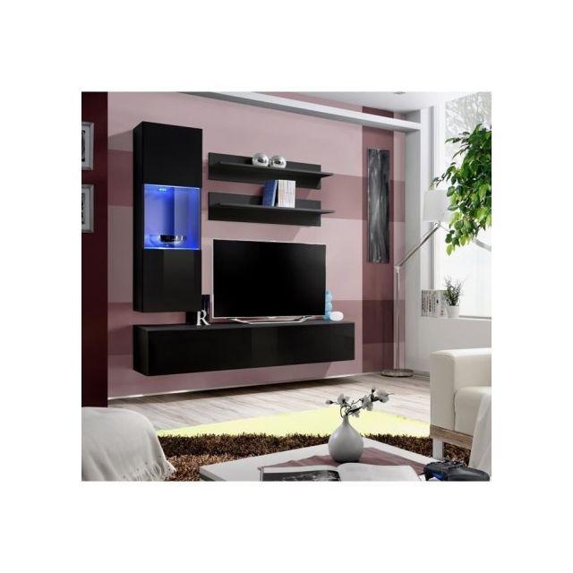 Price Factory Meuble Tv Fly H3 Design Coloris Noir Brillant