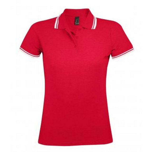SOL Sols Pasadena - Polo à manches courtes - Femme S, Rouge/Blanc Utpc2432
