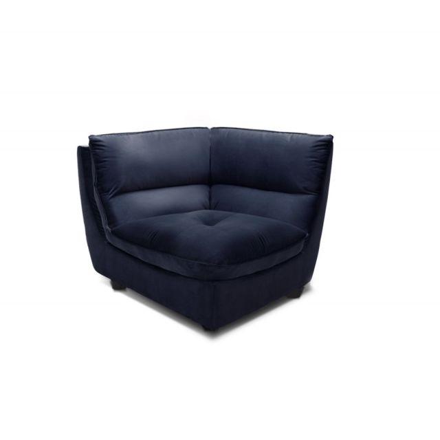 Meubletmoi Angle Bleu Marine pour canapé modulable - tissu velours doux - ultra confortable moelleux - Kaya