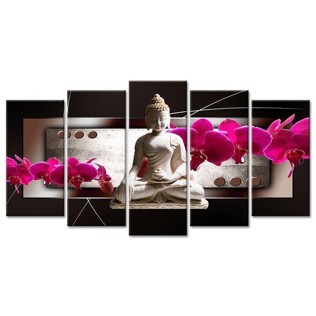 Tableau Xxl Décoration Fleurs Et Bouddha Pas Cher