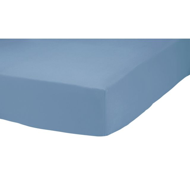 tex home drap housse en percale de coton durable bleu 180cm x 200cm pas cher achat vente. Black Bedroom Furniture Sets. Home Design Ideas