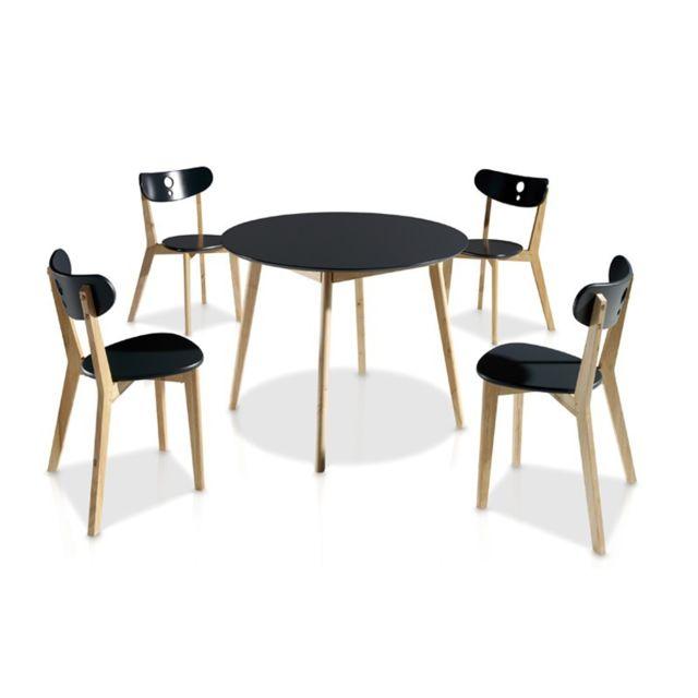 Tousmesmeubles Ensemble Table & Chaises Noir - Daia - Diamètre 100 x H 73