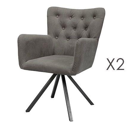 Lot de 2 fauteuils capitonné anthracithe piétement inox