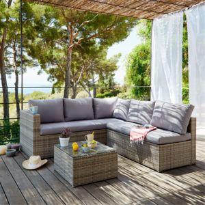 Alinéa - Solange Salon de jardin gris clair effet rotin tressé 4 à ...