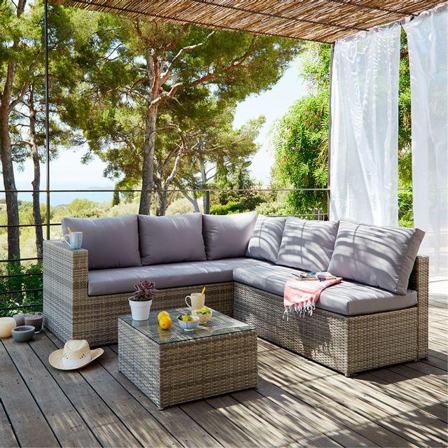 Alinéa - Solange Salon de jardin gris clair effet rotin tressé 4 à 6 ...