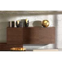 House and Garden - Buffet Design Miles Chene mocca avec portes en bois Sans eclairage