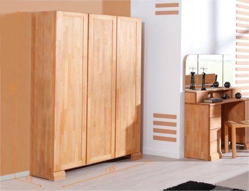 house and garden armoire dressing 3 portes fuji en bois massif naturel huile 65 cm - Armoire Bois Massif Pas Cher