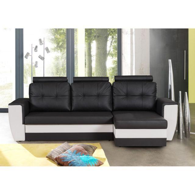 Rocambolesk Canapé d'angle convertible avec tétiéres noir-blanc Calvi