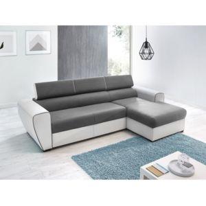 bobochic canap d 39 angle convertible simili avec coffre droit blanc gris 4 places dear blanc. Black Bedroom Furniture Sets. Home Design Ideas
