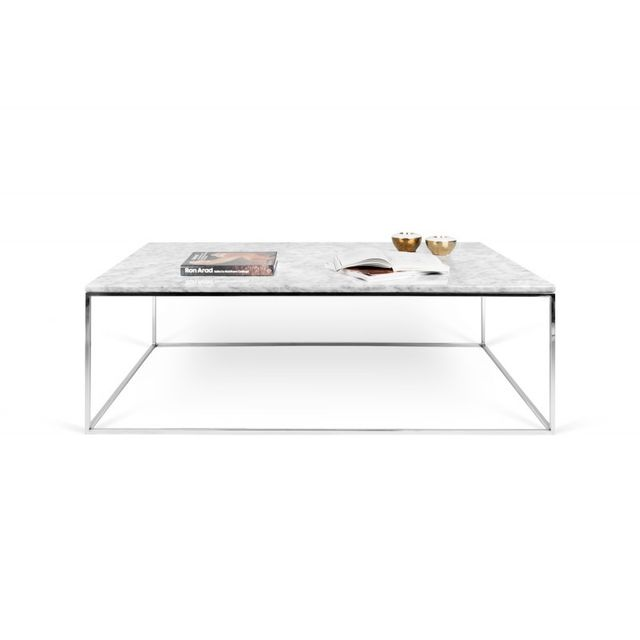 Temahome Table Basse Gleam 120cm Marbre Blanc Metal Chrome