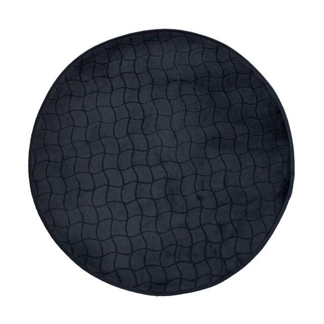 Linge Des Domes Cdaffaires Tapis rond 0, 90 cm velours uni tomette Noir