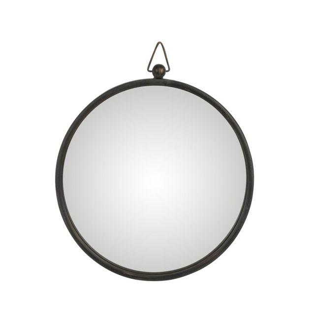 Tousmesmeubles Miroir Métal noir taille M - Tolfetano