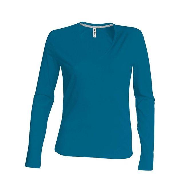 74f52840a4 Kariban - Tee-shirt femme col V manches longues 100% coton - pas cher Achat  / Vente Tee-shirts, tops - RueDuCommerce