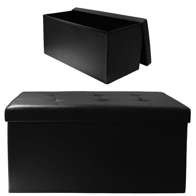 Ego Design - Coffre de rangement pliable Arty simili noir 78cm x ...