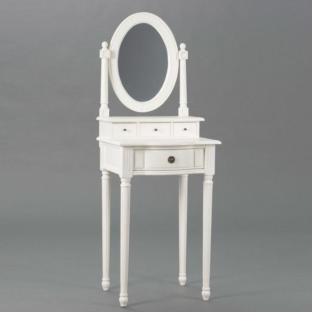Amadeus Coiffeuse en bois 4 tiroirs 1 miroir Longueur 50 cm Agathe