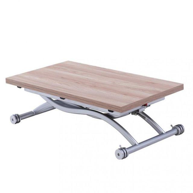 Inside 75 Table relevable extensible Hirondelle compacte chêne naturel 100 57 cm