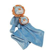 King Bear - Peluche et doudou en fleece pour bébé Lion - Bleu