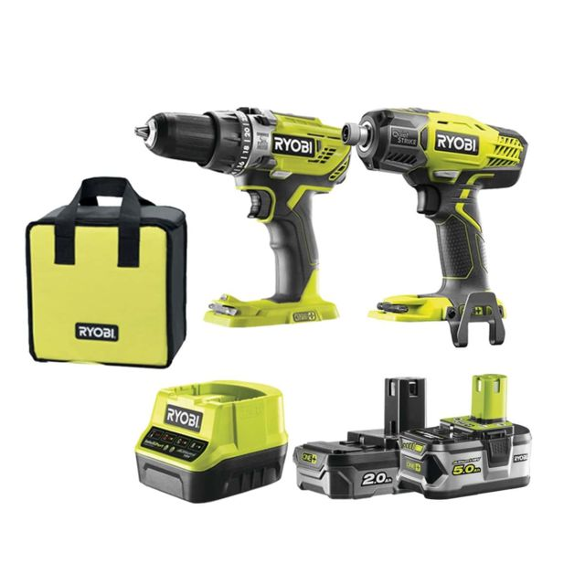 RYOBI - Pack Visseuse à chocs Quiet Strike 18V OnePlus R18QS-0 - Perceuse-visseuse à percussion 18V - 2 batteries lithium+ 1x 5,0Ah / 1x 2,0Ah - 1 chargeur 2,0 Ah - R18PD31-252S