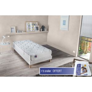 lovea ensemble matelas sommier unique 1 oreiller blanc 90cm x 190cm pas cher achat. Black Bedroom Furniture Sets. Home Design Ideas