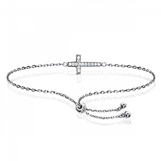 économiser beau look conception adroite Bracelet Croix Argent Rhodié Religieux Gris