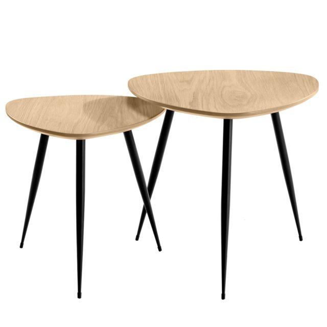 Table Basse Gigogne Bois.Tables Basses Scandinaves Bois Clair Quercus Lot De 2