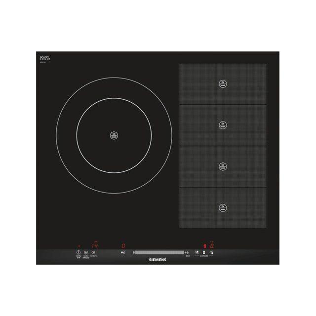 SIEMENS table de cuisson à induction 60cm 3 feux 7200w flexinduction noir - eh675mr17f