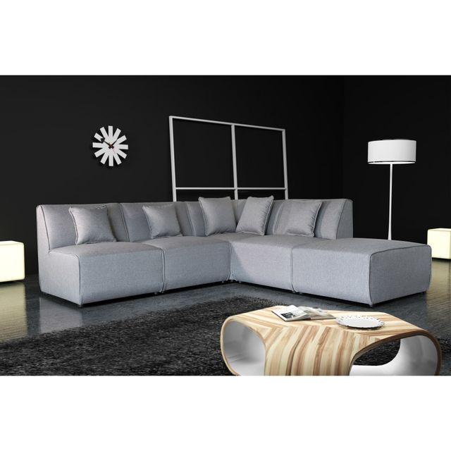 Rocambolesk Canapé Tobi uni 11A1P - savana 21 gris sofa divan