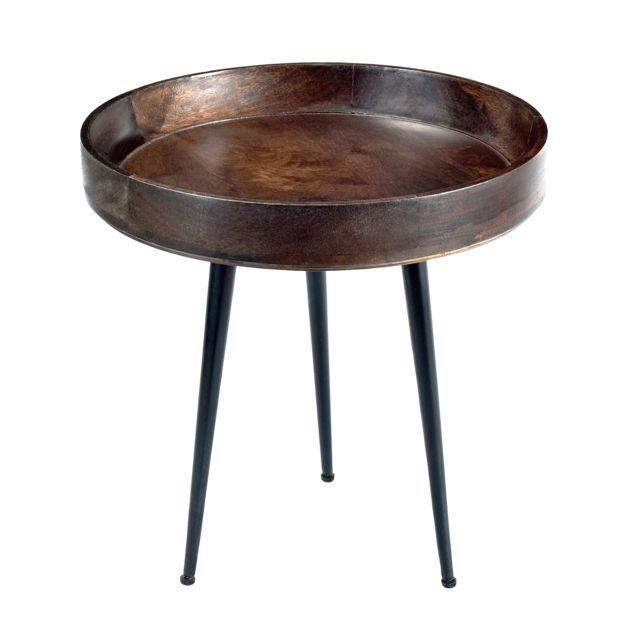Rendez Vous Deco Table basse ronde Chiba bois foncé