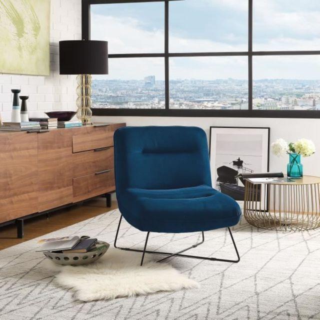 FAUTEUIL TIM Fauteuil pieds métal - Velours bleu - L 64 x P 74 x H 75 cm
