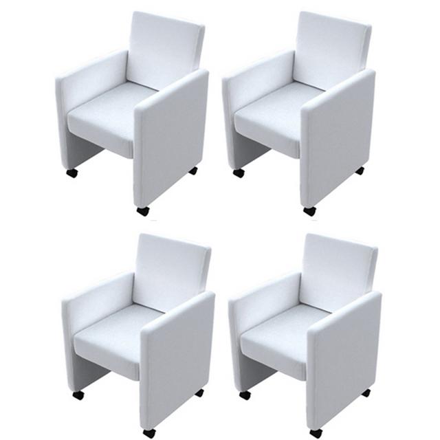 Rocambolesk Superbe Fauteuil/Chaise à roulettes blanc lot de 4, Neuf