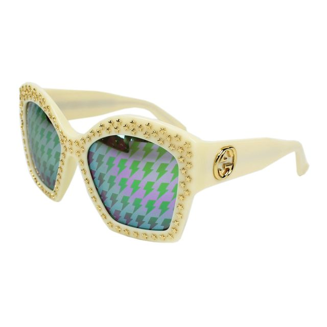 Gucci - Lunettes de soleil Gg-3870-S Z0M TP Femme Blanc - pas cher Achat    Vente Lunettes Tendance - RueDuCommerce beb26a19e299