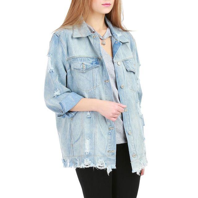 Lamodeuse - Veste en jeans oversize destroy et effilochée Bleu - pas ... 48add362dc0c