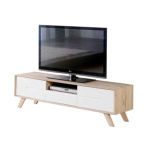 marque generique meuble tv bois d cor san remo avec tiroir 2 portes pieds en pin massif. Black Bedroom Furniture Sets. Home Design Ideas