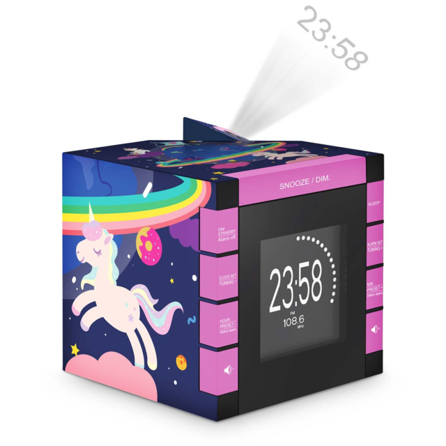Interactive Radio révei cube projecteur décor Licorne