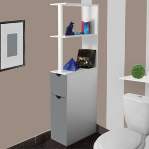 idmarket meuble wc tag re bois gain de place pour toilette 2 portes grises pas cher achat. Black Bedroom Furniture Sets. Home Design Ideas