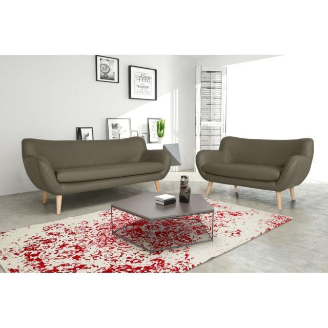 Rocambolesk Canapé Adele 3+2 Pu soft 24 taupe avec pieds naturels sofa divan