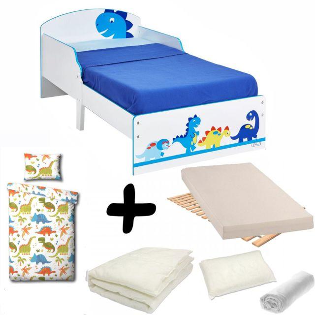 bebe gavroche pack complet lit enfant dinosaure lit matelas parure couette oreiller blanc. Black Bedroom Furniture Sets. Home Design Ideas
