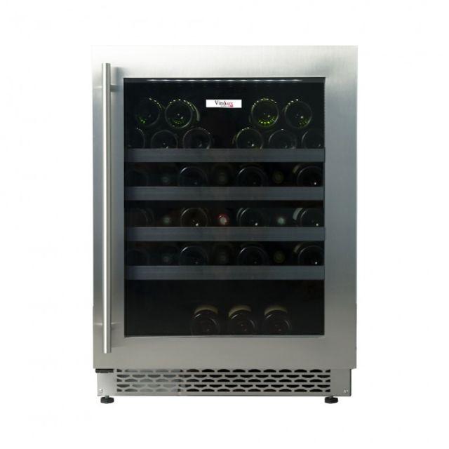 vinolux cave vin encastrable sous plan 60 cm 45 bouteilles inox vxe60x pas cher achat. Black Bedroom Furniture Sets. Home Design Ideas
