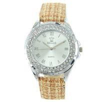 Bellas - Montre Femme Cuir Marron Diamants Cz 76
