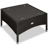 Rocambolesk - Superbe Table d'appoint / table basse en polyrotin - 58x58 x42cm - Noir - Maison/Jardin neuf