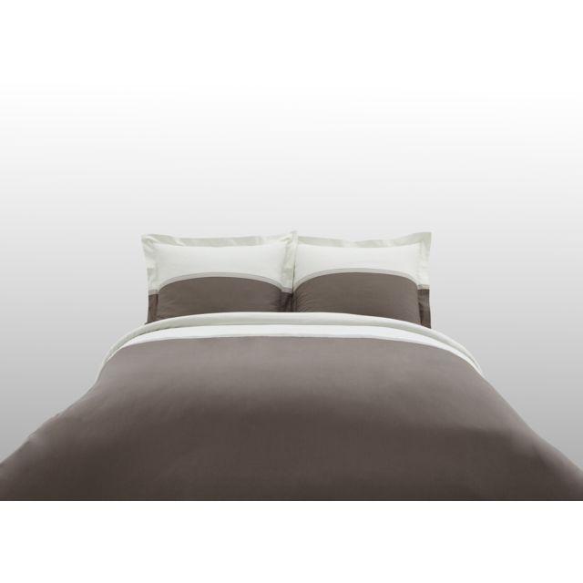 TEX HOME - Parure TRICOLOR Housse de couette + 2 taies d'oreiller en coton Marron - 260cm x 240cm