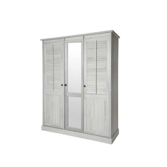 Nouvomeuble Armoire miroir couleur bois blanc Arizona