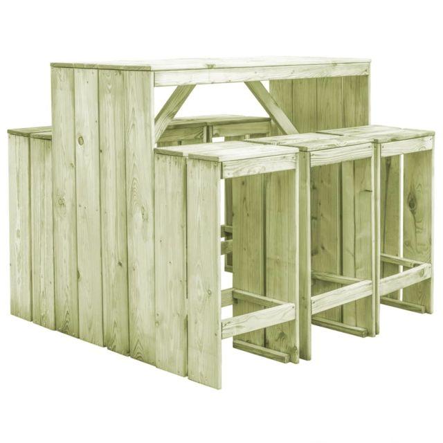 VIDAXL Mobilier de salle à manger de jardin 7 pcs Pin imprégné FSC   Vert - Meubles/Meubles de jardin/Ensembles de meubles d'ex