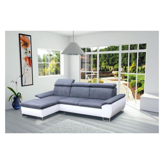 MEUBLESLINE Canapé d'angle design 4 places CAYENNE gris blanc