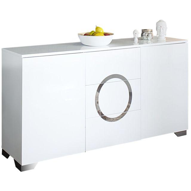 Comforium Bahut design 160 cm en mdf coloris blanc laqué