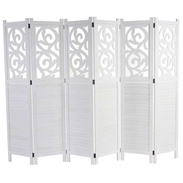 Mendler - Paravent Istanbul, cloison de séparation, ornements, blanc, 170x240cm 2cm x 170cm