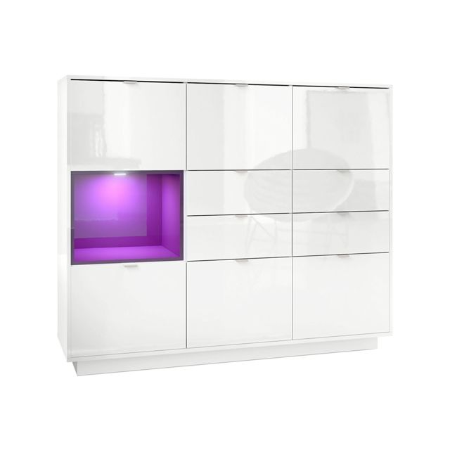 Mpc Buffet design laqu? blanc avec insertion Violet