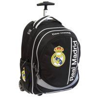 Real Madrid - Sac à roulettes 45 Cm Black Haut de gamme - Cartable