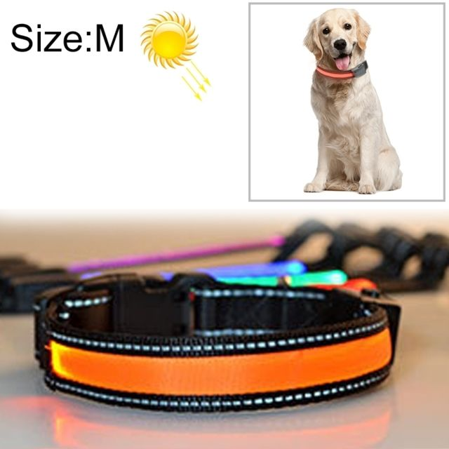 Wewoo Collier de lumière Led de charge pour animaux de compagnie, chien de taille moyenne et grande, solaire, tour de cou, tai