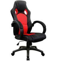 Rocambolesk - Superbe Chaise de bureau sport Fauteuil - siege baquet - rouge et noir - réglable en hauteur Neuf